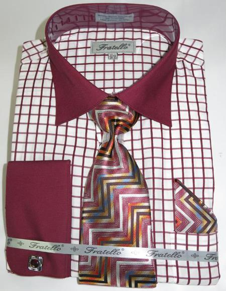 Mens Fashion Dress Shirts and Ties Burgundy Colorful Men's Dress Shirt