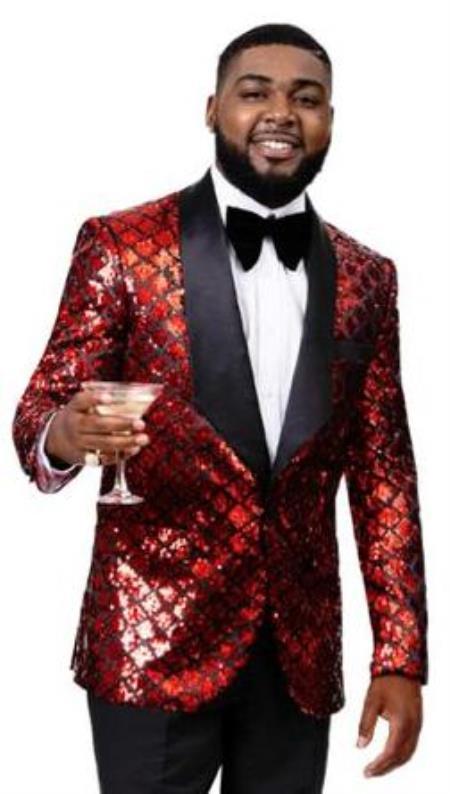 Men's 2 Button Front Red ~ Black Sequin Tuxedo Blazer Jacket
