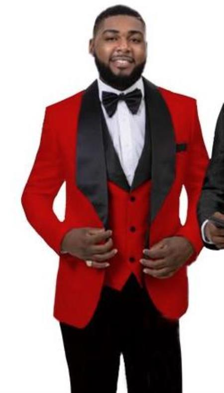 Men's 1 Button Front Red Tuxedo Jacket Vest Set