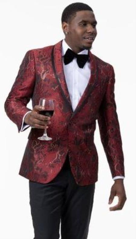 Men's 1 Button Front Red Gold Floral Pattern Designer Tuxedo Jacket