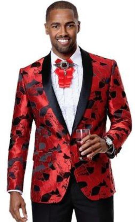 Men's 1 Button Front Red Floral Pattern Party Blazer