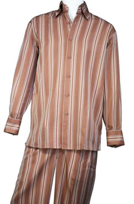Rust Wide Leg Walking Leisure Casual Suit For Sale