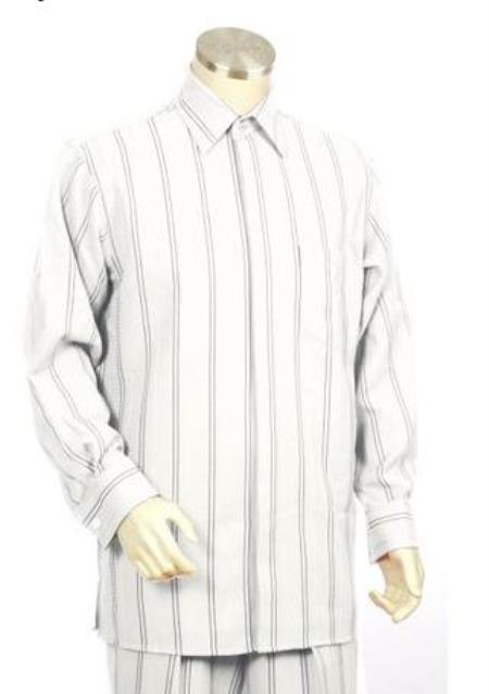 White ~ Black Long Sleeve Dress Pants Walking Leisure Suit