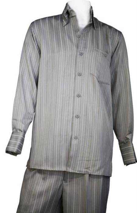 Light Grey Wide Leg Casual Suit For Sale