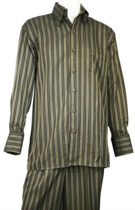 Olive Long Sleeve Walking Leisure Casual Suit