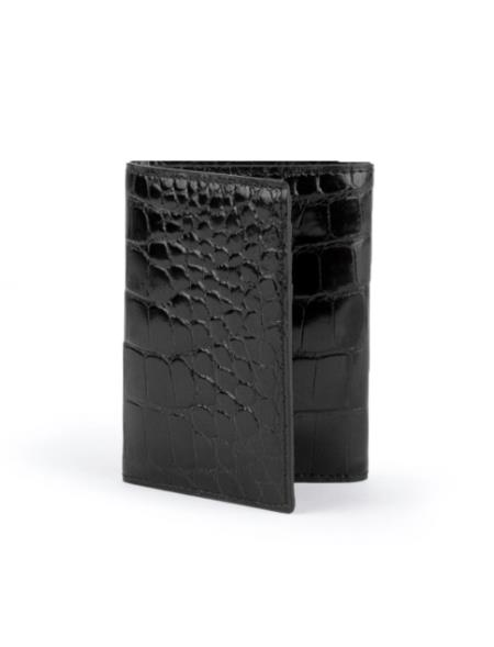Men's Full Alligator Trifold Black