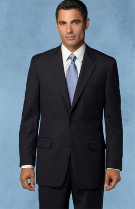 MensUSA.com Mantoni Gorgio Two Buttons Mens Jet Black Flat Front Suit(Exchange only policy) at Sears.com