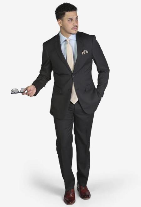 Men's Charcoal Grey Slim Fit 2-button Suit
