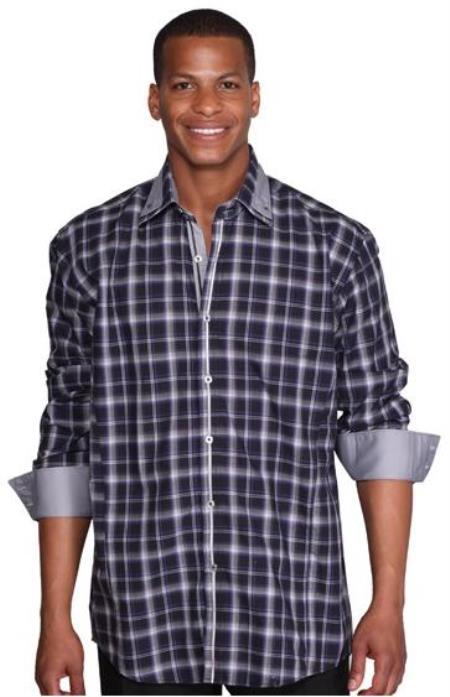 Patterned Dress Shirt - Men's Navy Blue Fashion Plaid High Collar Shirt With Solid Trim