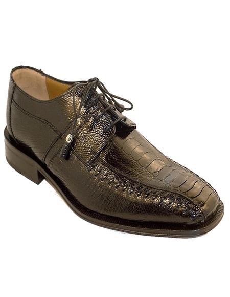 Men's Black Color Ostrich Shoes