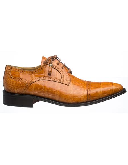 Mens Ferrini Brand Shoe Mens Light Cognac Color Alligator Shoes