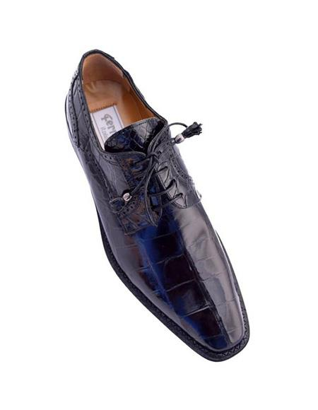 Men's Ferrini Brand Shoe Men's Black Color Toe Italian Style Alligator Shoes