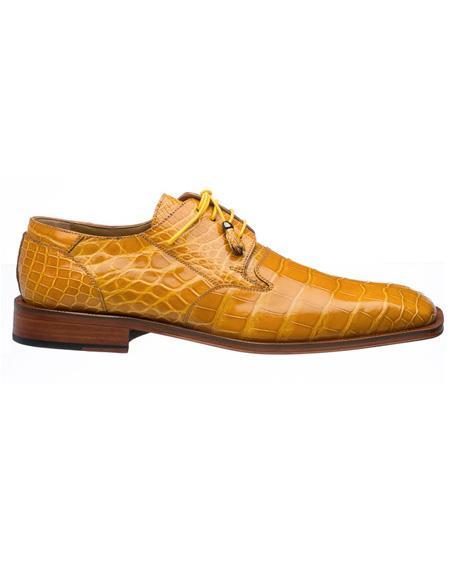Men's Ferrini Brand Shoe Men's Gold Color Square Toe Style Alligator Shoes