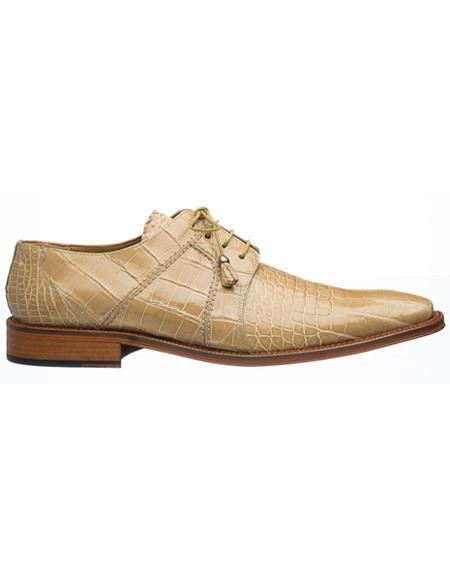 Men's Ferrini Brand Shoe Men's Tan Color Classy Sleek Style Alligator Shoes