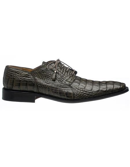 Men's Ferrini Brand Shoe Men's Black Color Toe Style Alligator Shoes