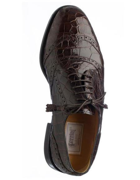 Men's Ferrini Brand Shoe Men's Brown Color Alligator Skin Shoes