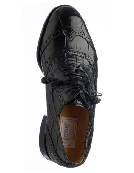 Men's Ferrini Brand Shoe Men's Black Color Genuine Alligator Shoes