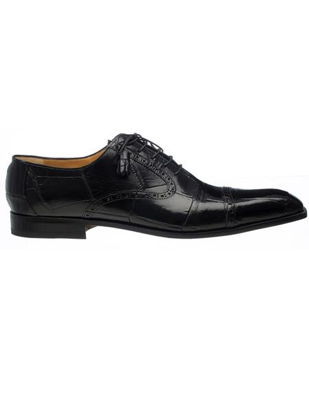 Men's Ferrini Brand Shoe Men's Black Color Italian Alligator Cap Toe Oxford Style Shoes