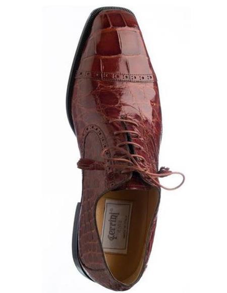 Men's Ferrini Brand Shoe Men's Rust Color Italian Alligator Leather Shoes