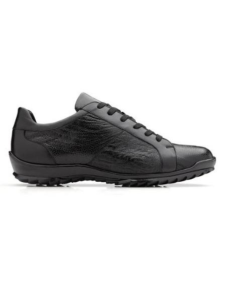 Mens Genuine Ostrich and Italian Calf Sneaker Black