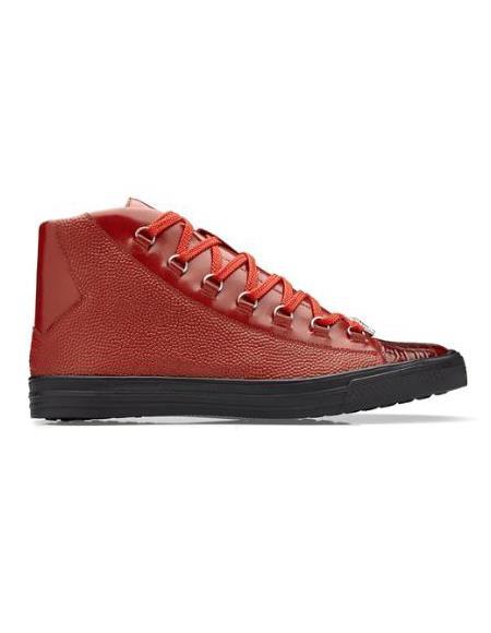 Men's Genuine Caiman Crocodilus Sneaker Red