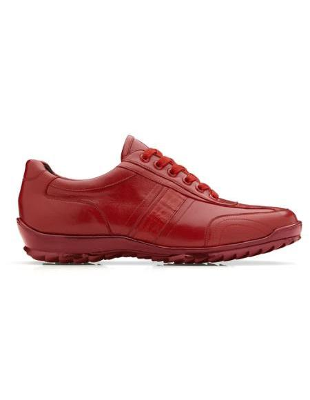 Mens Leather Lining Genuine Caiman Crocodilus and Italian Calf Sneaker Red