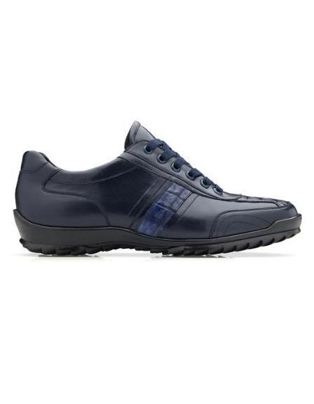 Mens Leather Lining Genuine Caiman Crocodilus and Italian Calf Sneaker Navy