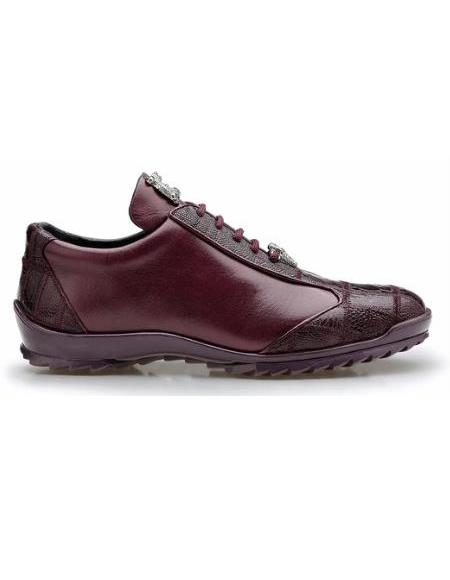Men's Leather Lining Genuine Ostrich and Soft Calf Sneaker Dark Burgundy