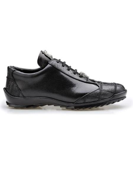 Mens Leather Lining Genuine Ostrich and Soft Calf Sneaker Black