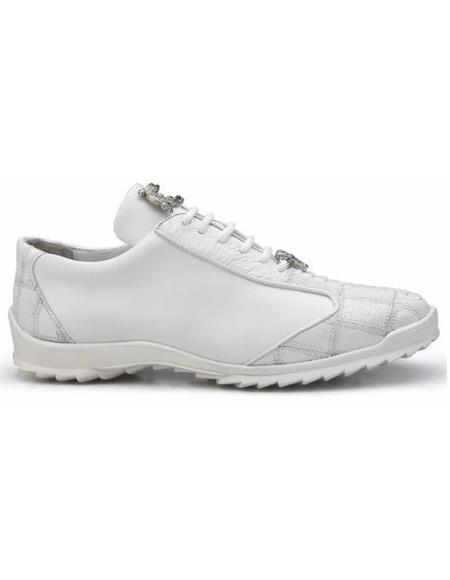 Mens Leather Lining Genuine Ostrich and Soft Calf Sneaker White