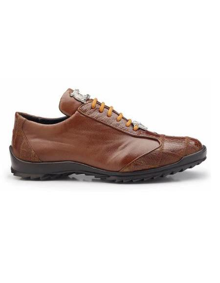 Men's Leather Lining Genuine Ostrich and Soft Calf Sneaker Honey