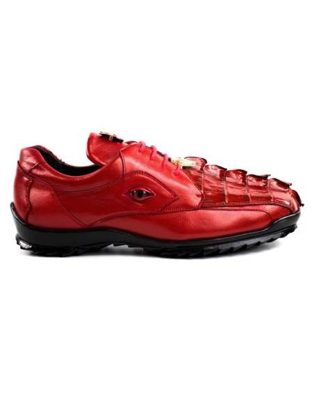 Men's Leather Lining Genuine Caiman Crocodilus and Soft Calf Red