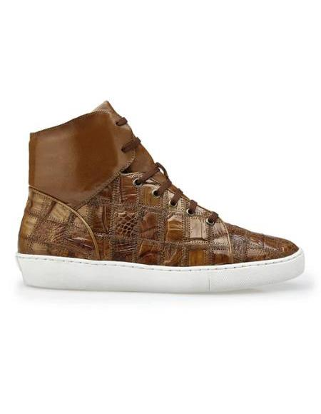 Men's Leather Lining Genuine Caiman Crocodilus Patchwork Honey