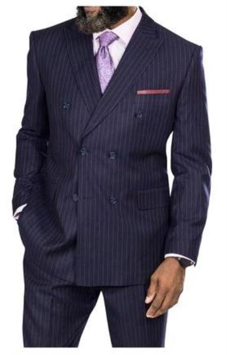 Steve Harvey Suits - Vested fashion Suit- Wool Fabric Suit Men's Steve Harvey Navy Burgundy Stripe Six Button Jacket Double Breasted Suit 218876 OS