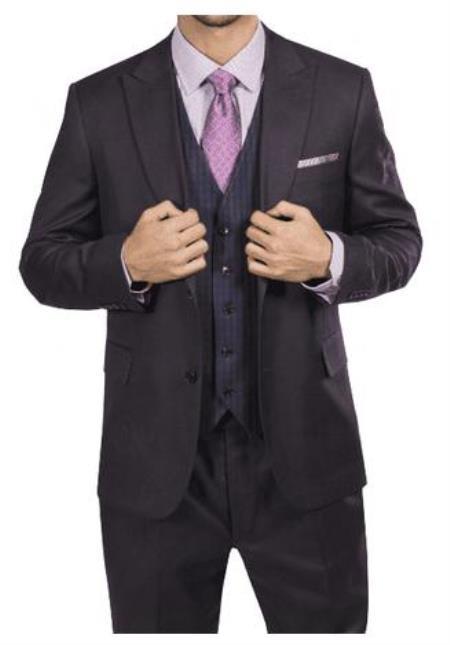 Steve Harvey Suits - Vested fashion Suit- Wool Fabric Suit Men's Steve Harvey Brown Two Button Jacket Suit 218883 OS