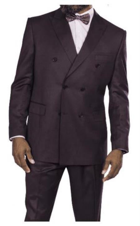 Harvey Suit - Vested fashion Suit- Wool Fabric Suit Mens Steve Harvey Plum Six Button Jacket Double Breasted Suit 218855 OS