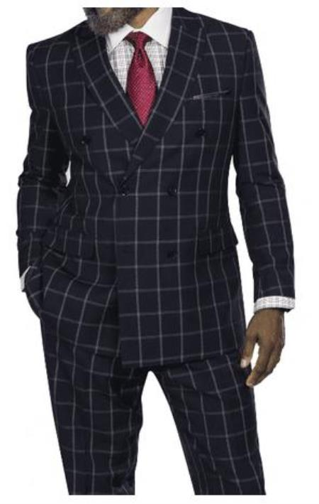 Harvey Suit - Vested fashion Suit- Wool Fabric Suit Mens Steve Harvey Black Windowpane Six Button Jacket Double Breasted Suit 218879 OS