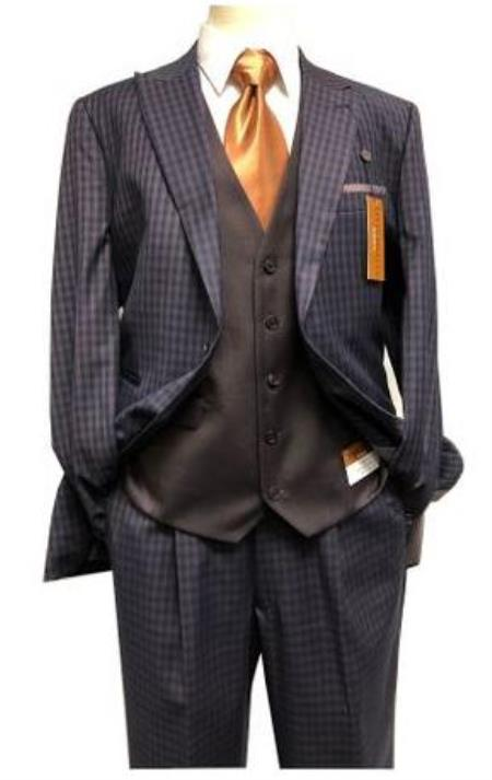 Harvey Suit - Vested fashion Suit- Wool Fabric Suit Mens Steve Harvey Navy - Brown Two Button Jacket Suit 218879 OS
