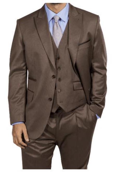 Harvey Suit - Vested fashion Suit- Wool Fabric Suit Mens Steve Harvey Light Brown Two Button Jacket  Suit 218854 OS