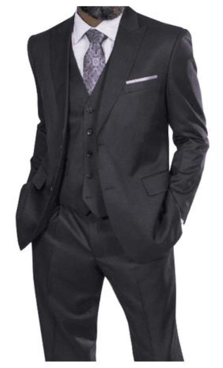 Steve Harvey Suits - Vested fashion Suit- Wool Fabric Suit Men's Steve Harvey Charcoal Two Button Jacket  Suit 218852
