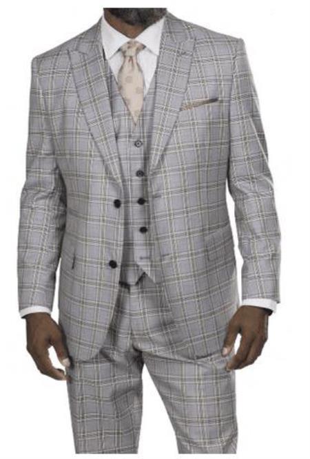 Steve Harvey Suits - Vested fashion Suit- Wool Fabric Suit Men's Steve Harvey Light Gray Taupe Windowpane Two Button Jacket Suit 218864 OS