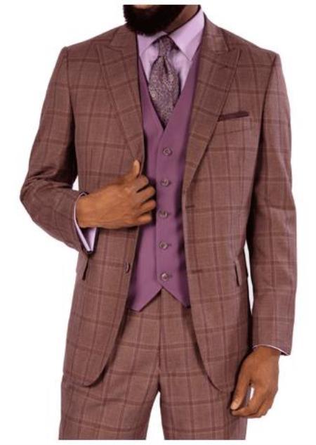 Steve Harvey Suits - Vested fashion Suit- Wool Fabric Suit Men's Steve Harvey Mauve Two Button Jacket Suit 119723 OS