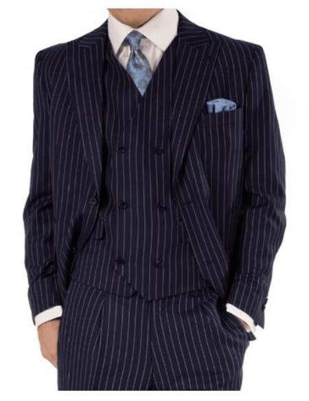Steve Harvey Suits - Vested fashion Suit- Wool Fabric Suit Men's Steve Harvey Navy PinStripe Two Button Jacket Suit 119726 OS