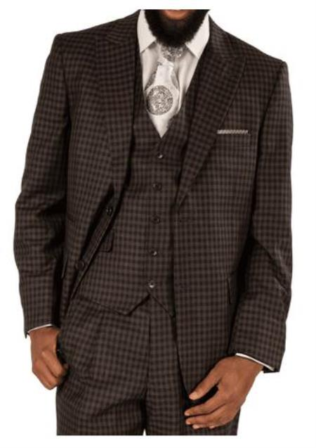 Steve Harvey Suits - Vested fashion Suit- Wool Fabric Suit Men's Steve Harvey Gray ~ Black Plaid Two Button Jacket Suit 119744 OS