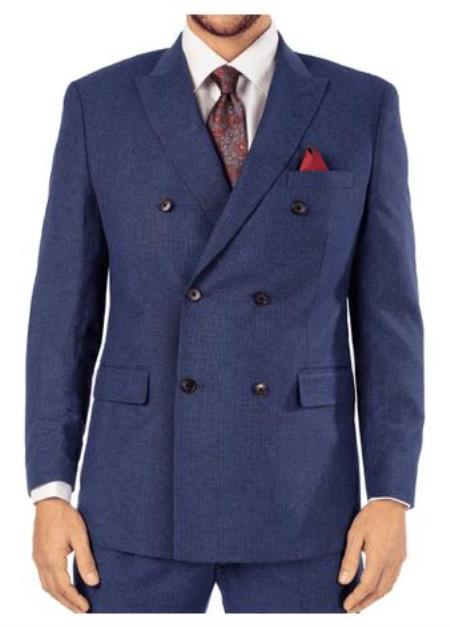 Harvey Suit - Vested fashion Suit- Wool Fabric Suit Mens Steve Harvey Blue Pinstripe 6 Button Double Breasted Suit 119728 OS