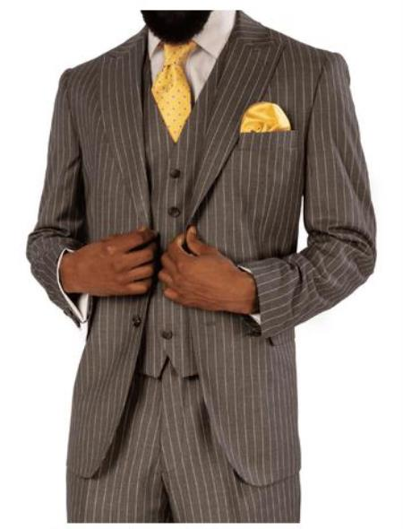 Steve Harvey Suits - Vested fashion Suit- Wool Fabric Suit Men's Steve Harvey Gray Pinstripe 2 Button  Suit 119725 OS