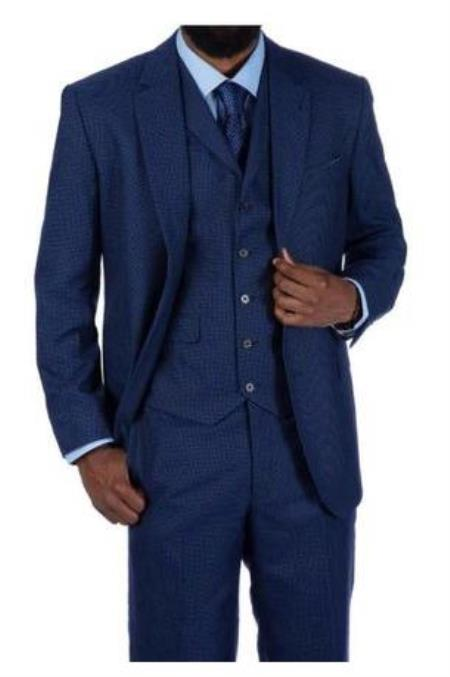 Steve Harvey Suits - Vested fashion Suit- Wool Fabric Suit Men's Steve Harvey Blue Houndstooth 2 Button Suit 219701 OS