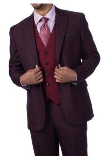 Steve Harvey Suits - Vested fashion Suit- Wool Fabric Suit Men's Steve Harvey Burgundy Plaid 2 Button Suit 219704 OS