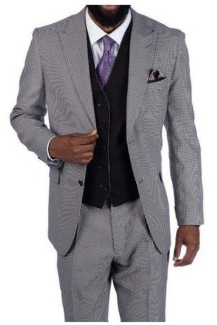 Steve Harvey Suits - Vested fashion Suit- Wool Fabric Suit Men's Steve Harvey White - Black Houndstooth Plaid 2 Button Suit 219700 OS