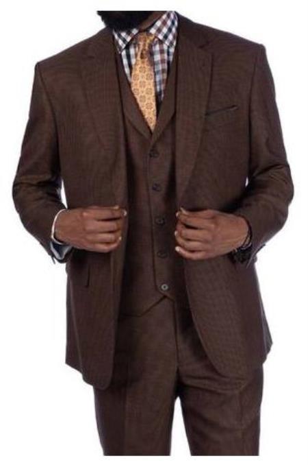 Steve Harvey Suits - Vested fashion Suit- Wool Fabric Suit Men's Steve Harvey Brown Houndstooth 2 Button Suit 219702